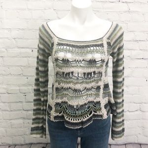 Free People crochet sweater blues and green Small